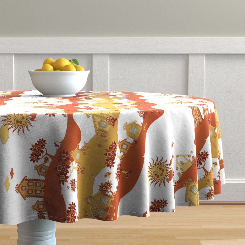 Malay Round Tablecloth featuring village street by minyanna