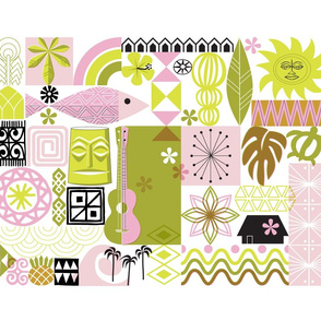 na paila Tea Towel* (Pink and Chartreuse) || Hawaii Hawaiian sun beach tropical palm trees atomic midcentury modern leaves flowers ukulele fish honu sea turtle rainbow tiki tribal waves ocean cut and sew kitchen bar