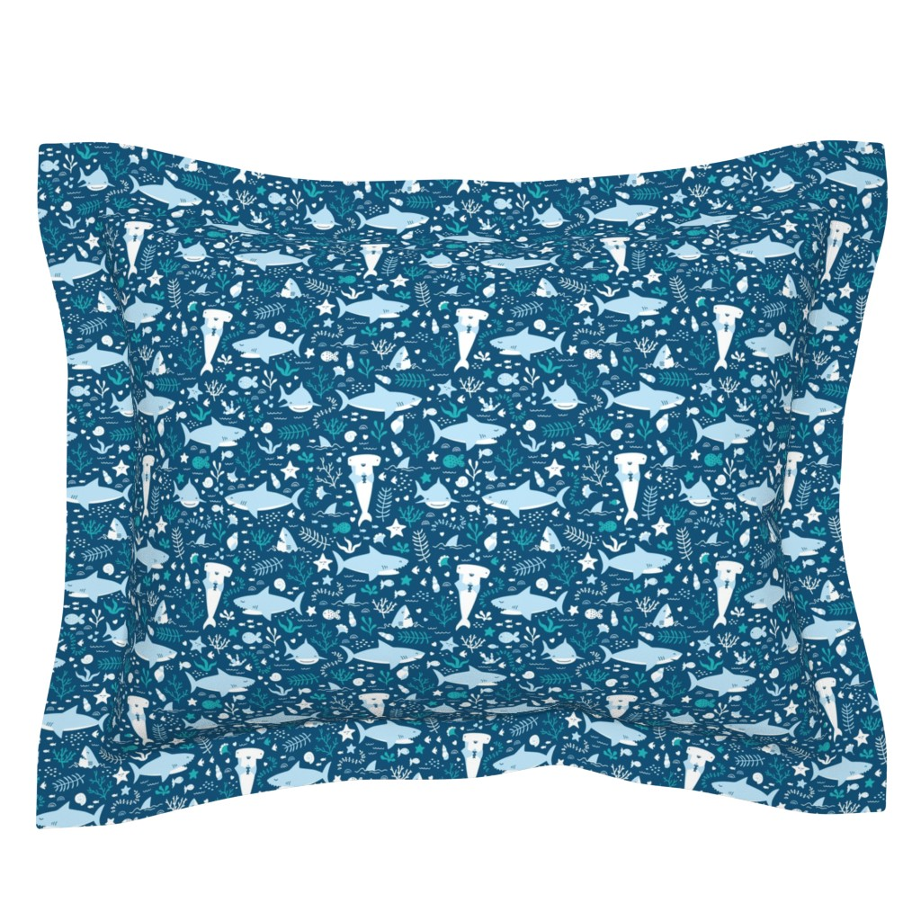 Sebright Pillow Sham featuring Happy Sharks by innamoreva