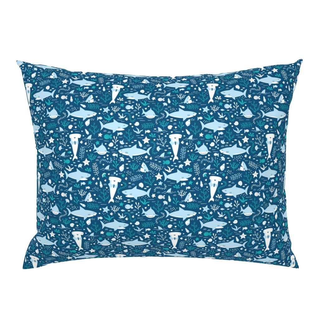 Campine Pillow Sham featuring Happy Sharks by innamoreva