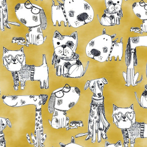 Dog Breeds hand drawn sketch on Mustard yellow Linen texture