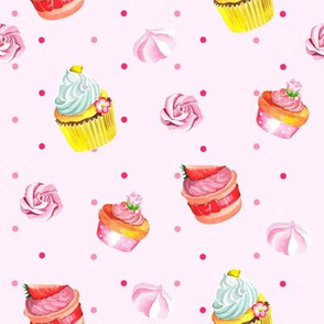Watercol cute pattern with cupcakes.