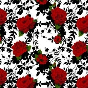 Floral pattern with Red Roses.
