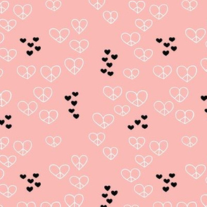 Love and peace sweet hearts scandinavian style illustration soft pink for girls