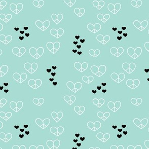 Love and peace sweet hearts scandinavian style illustration mint