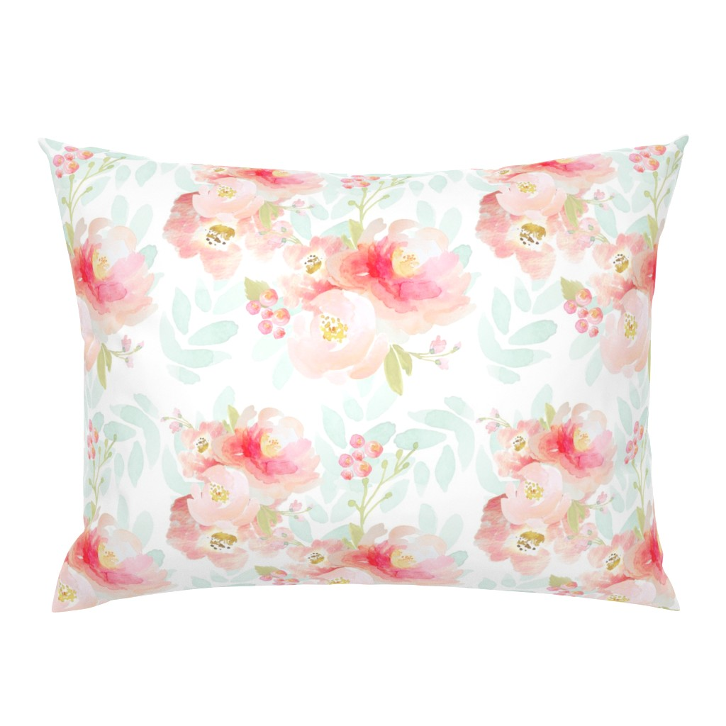 Campine Pillow Sham featuring Indy Bloom Pink Plush Florals A by indybloomdesign