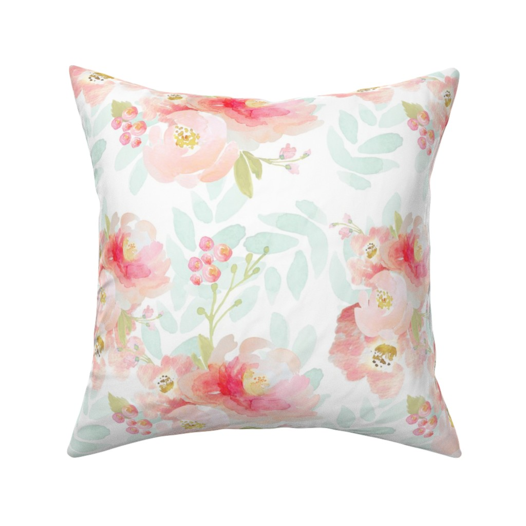 Catalan Throw Pillow featuring Indy Bloom Pink Plush Florals A by indybloomdesign
