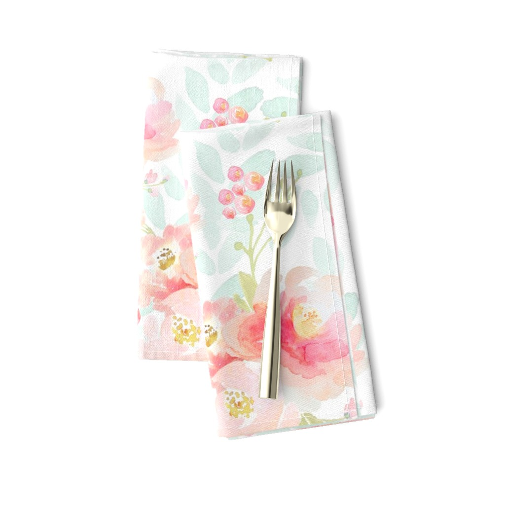 Amarela Dinner Napkins featuring Indy Bloom Pink Plush Florals A by indybloomdesign