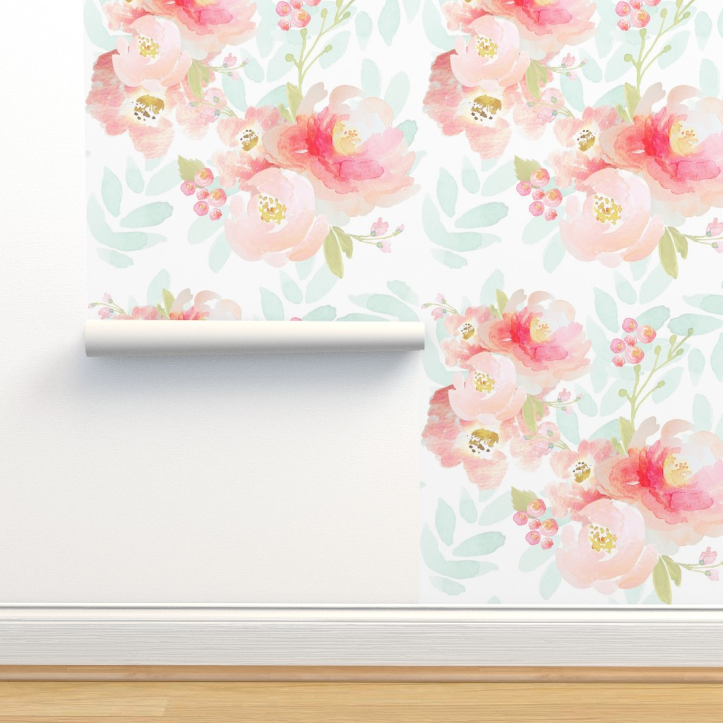 Isobar Durable Wallpaper featuring Indy Bloom Pink Plush Florals A by indybloomdesign