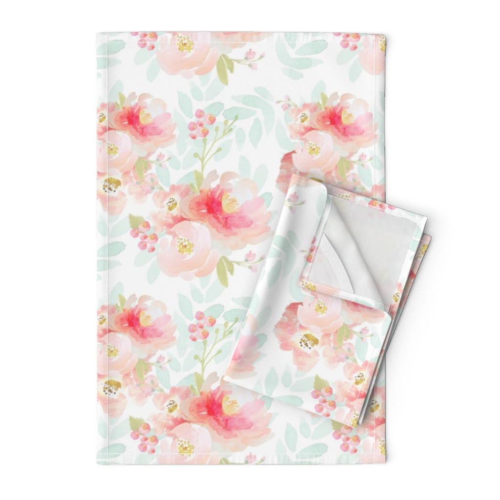 Orpington Tea Towels featuring Indy Bloom Pink Plush Florals A by indybloomdesign