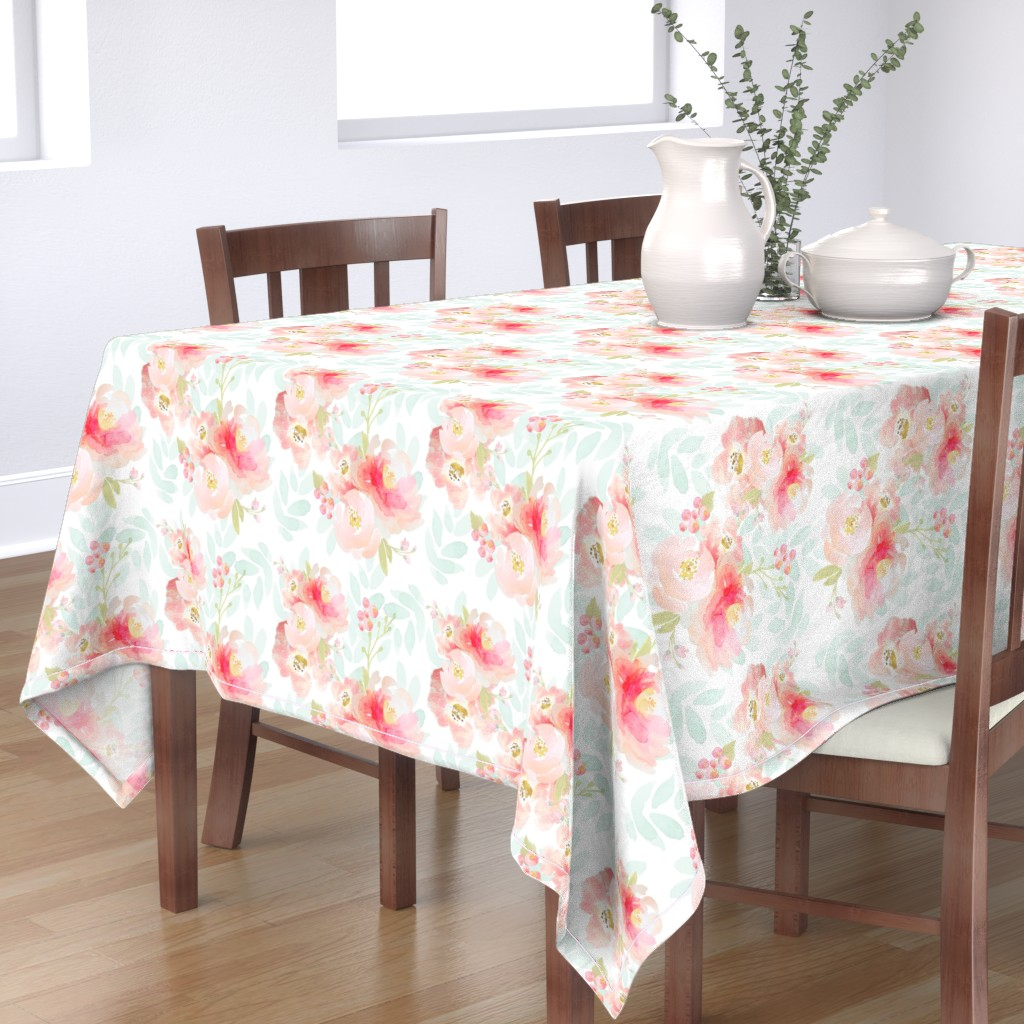 Bantam Rectangular Tablecloth featuring Indy Bloom Pink Plush Florals A by indybloomdesign
