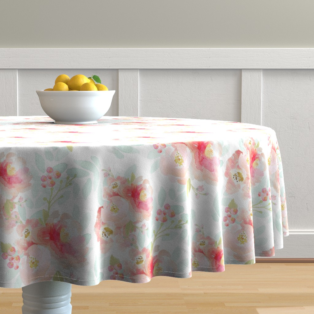 Malay Round Tablecloth featuring Indy Bloom Pink Plush Florals A by indybloomdesign