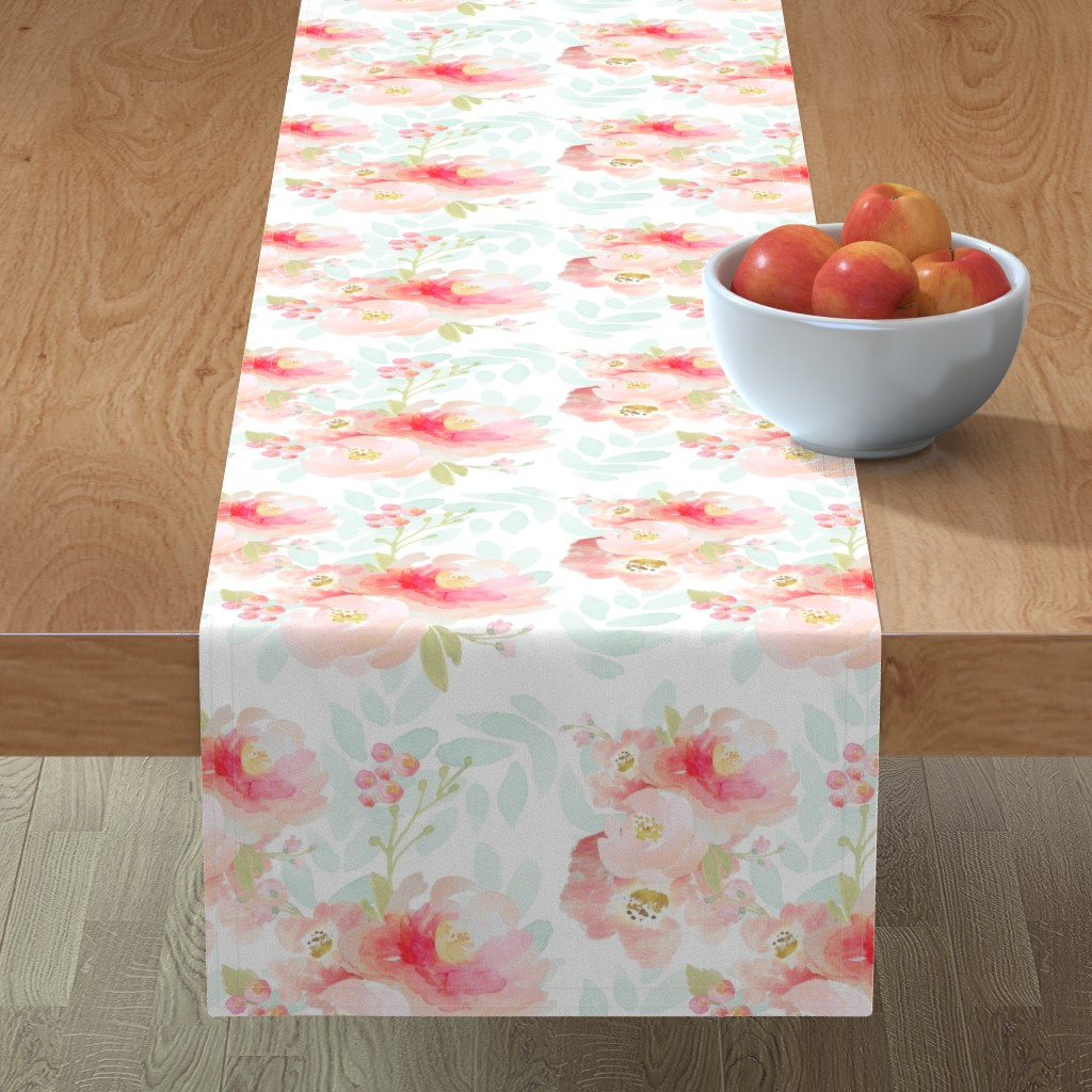 Minorca Table Runner featuring Indy Bloom Pink Plush Florals A by indybloomdesign