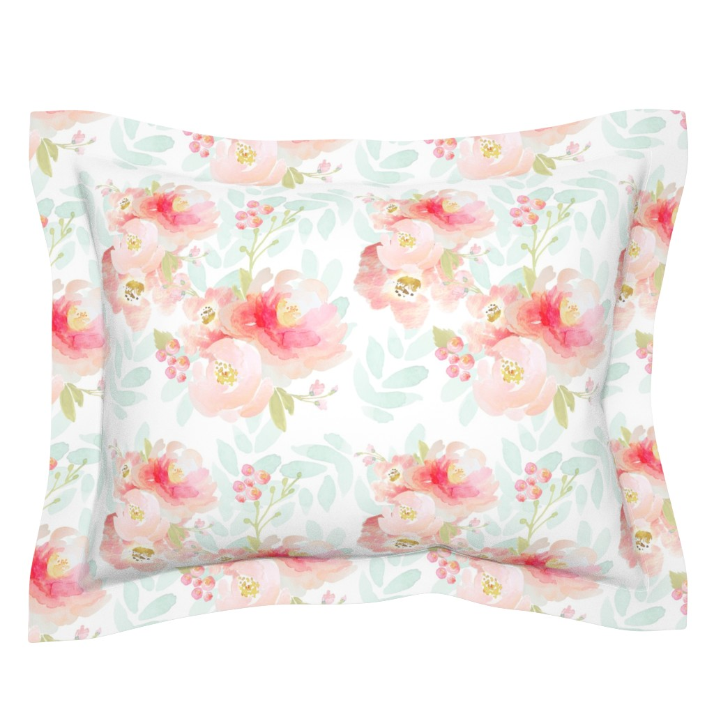 Sebright Pillow Sham featuring Indy Bloom Pink Plush Florals A by indybloomdesign