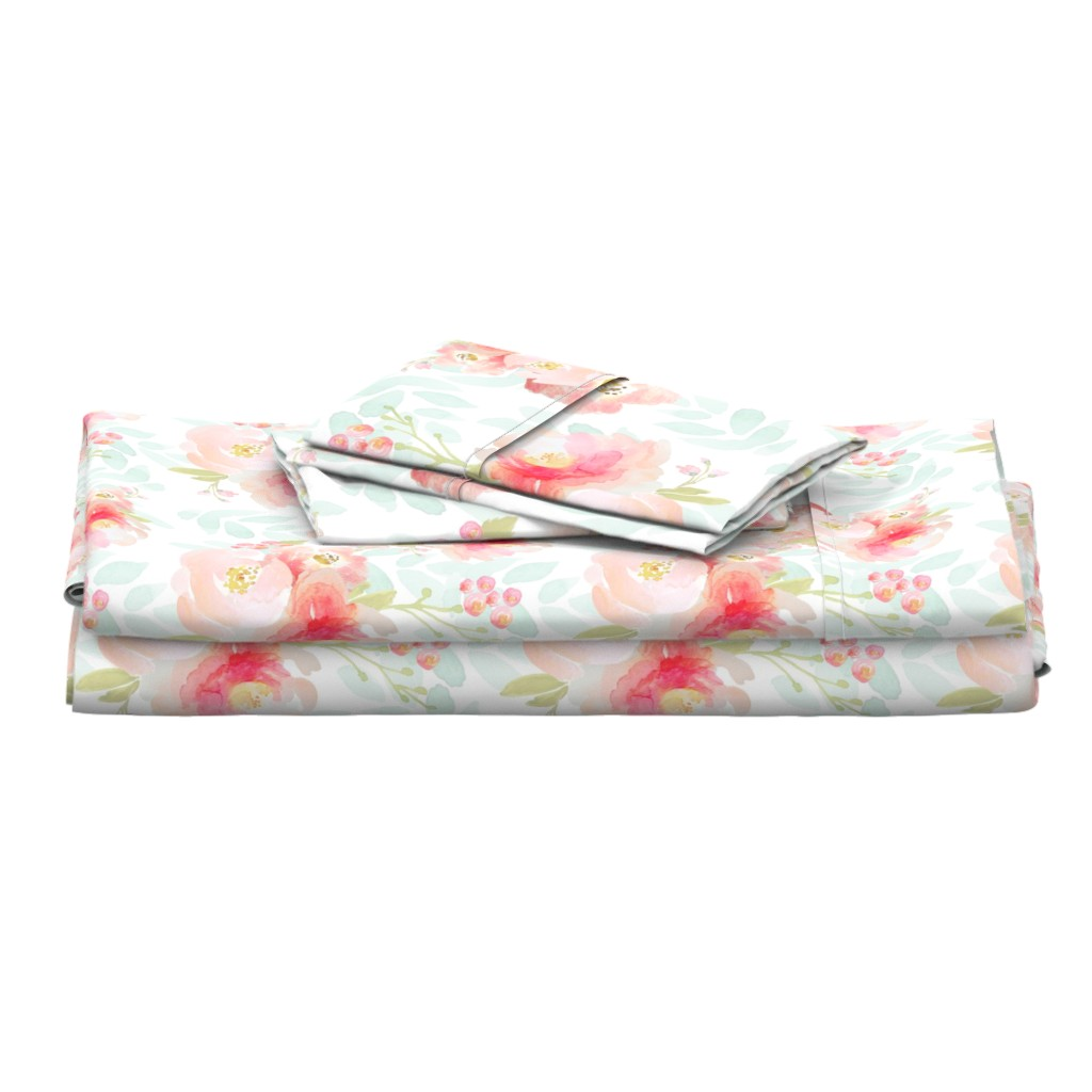 Langshan Full Bed Set featuring Indy Bloom Pink Plush Florals A by indybloomdesign