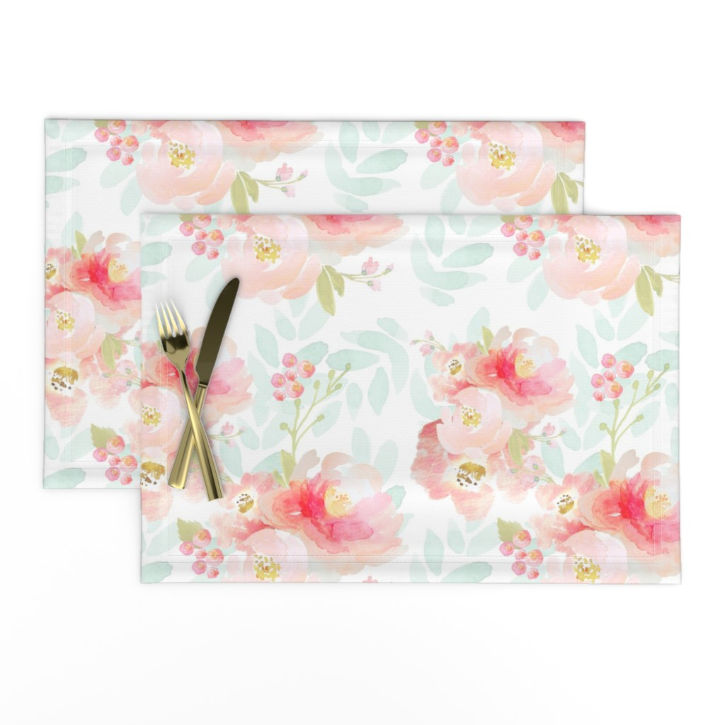 Lamona Cloth Placemats featuring Indy Bloom Pink Plush Florals A by indybloomdesign