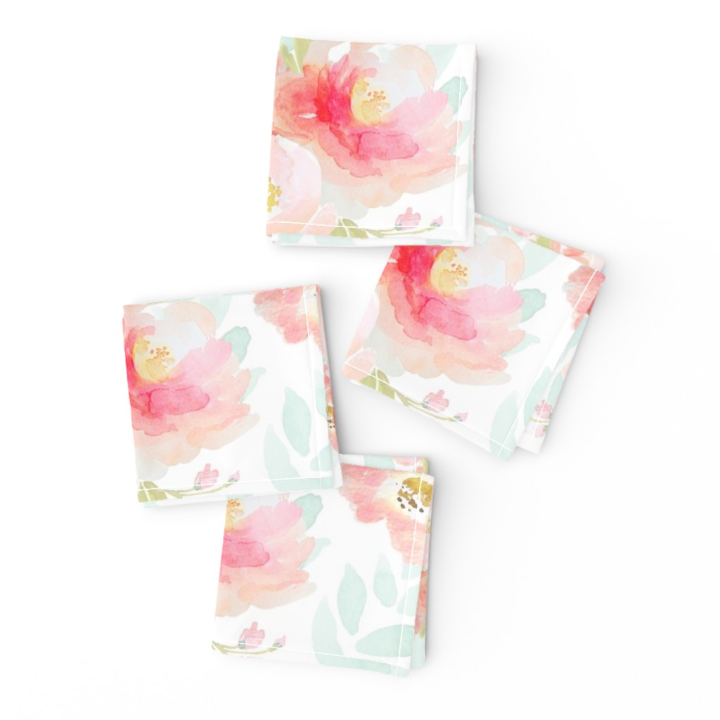 Frizzle Cocktail Napkins featuring Indy Bloom Pink Plush Florals A by indybloomdesign