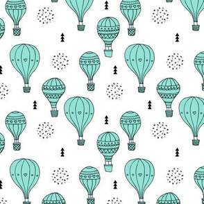 Sweet dreams hot air balloon sky scandinavian geometric style design mint blue