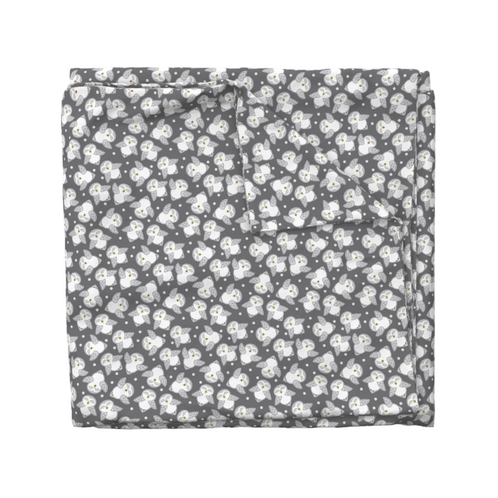 Wyandotte Duvet Cover featuring Snow Owls in gray by cindylindgren