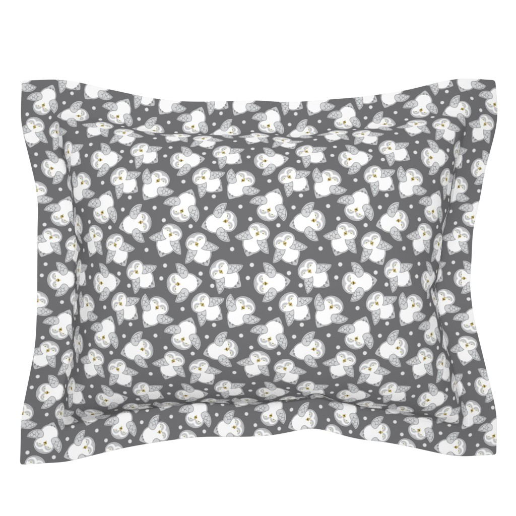 Sebright Pillow Sham featuring Snow Owls in gray by cindylindgren