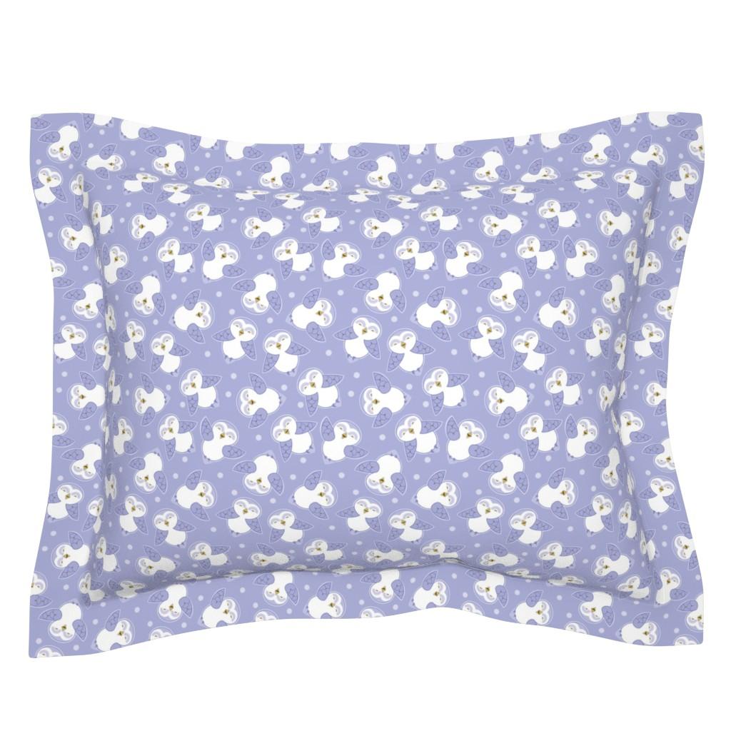 Sebright Pillow Sham featuring Snow Owls in purple by cindylindgren
