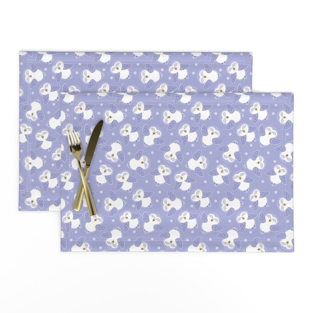 Lamona Cloth Placemats featuring Snow Owls in purple by cindylindgren