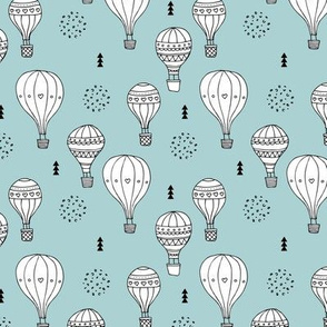 Sweet dreams hot air balloon sky scandinavian geometric style design gender soft blue