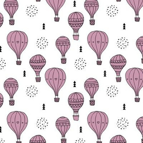 Sweet dreams hot air balloon sky scandinavian geometric style design violet lilac girls