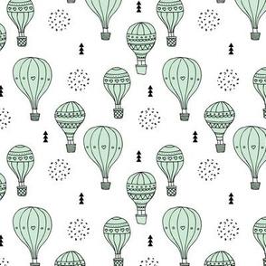 Sweet dreams hot air balloon sky scandinavian geometric style design pastel mint