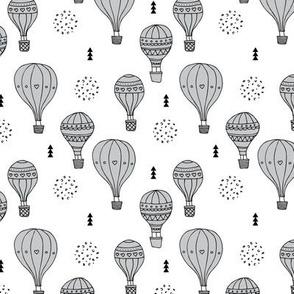 Sweet dreams hot air balloon sky scandinavian geometric style design gender neutral gray
