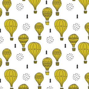 Sweet dreams hot air balloon sky scandinavian geometric style design gender neutral mustard yellow