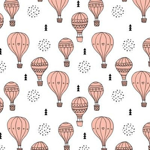 Sweet dreams hot air balloon sky scandinavian geometric style design pastel pink for girls
