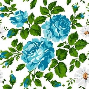 Cute blue roses pattern