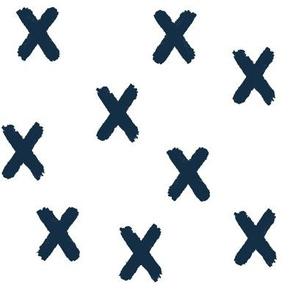 Navy X's on White