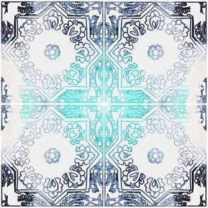 MOROCCAN blues on tile