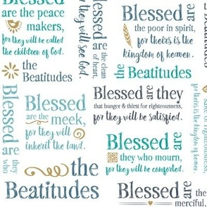 The Beatitudes Typography in shades of blue, gray and teal © Jennifer Garrett