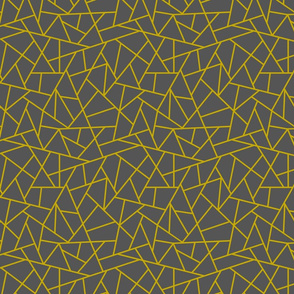 Abstract Geometric Gold on Charcoal Small