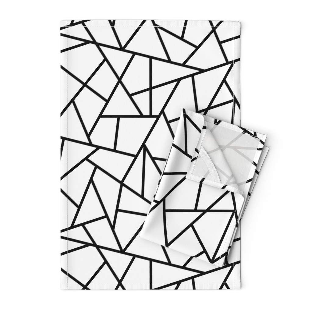 Orpington Tea Towels featuring Abstract Geometric Black on White Large by sierra_gallagher