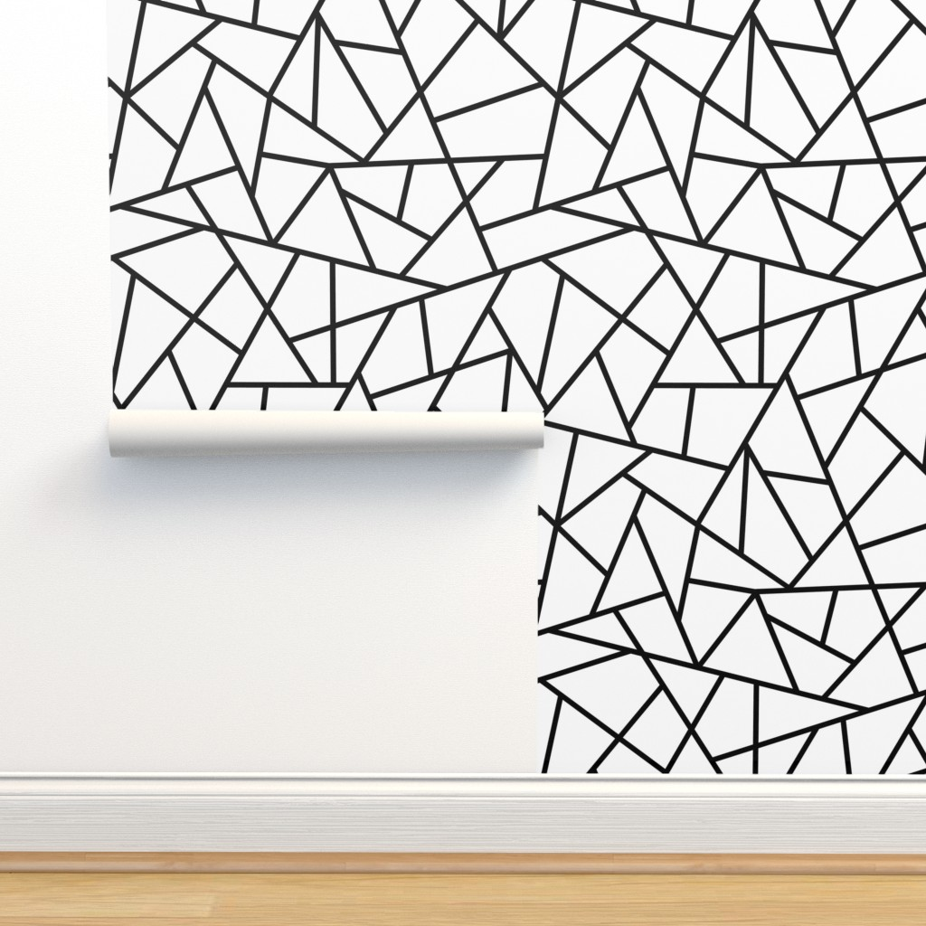 Isobar Durable Wallpaper featuring Abstract Geometric Black on White Large by sierra_gallagher