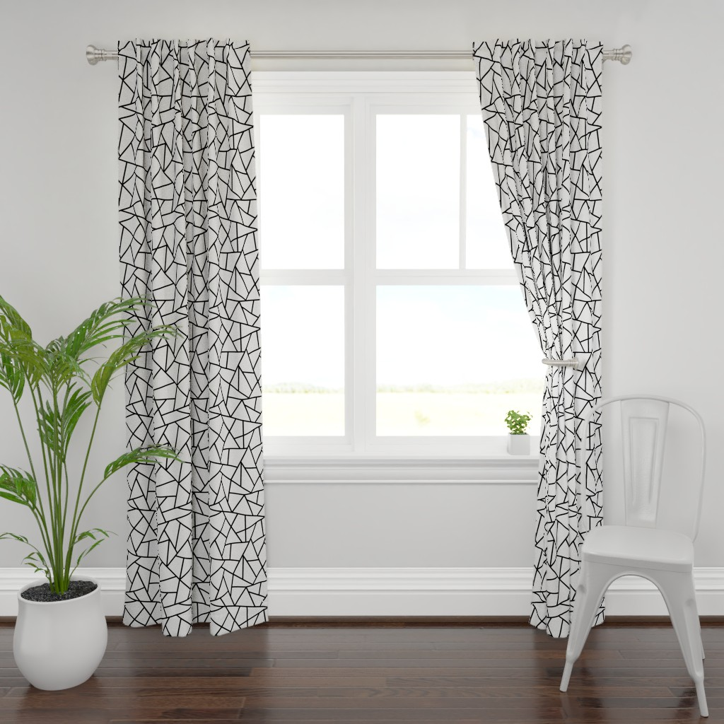 Plymouth Curtain Panel featuring Abstract Geometric Black on White Large by sierra_gallagher