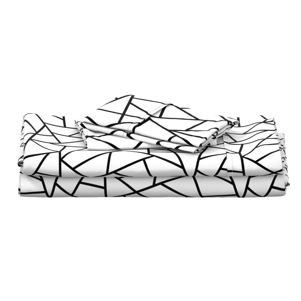Langshan Full Bed Set featuring Abstract Geometric Black on White Large by sierra_gallagher