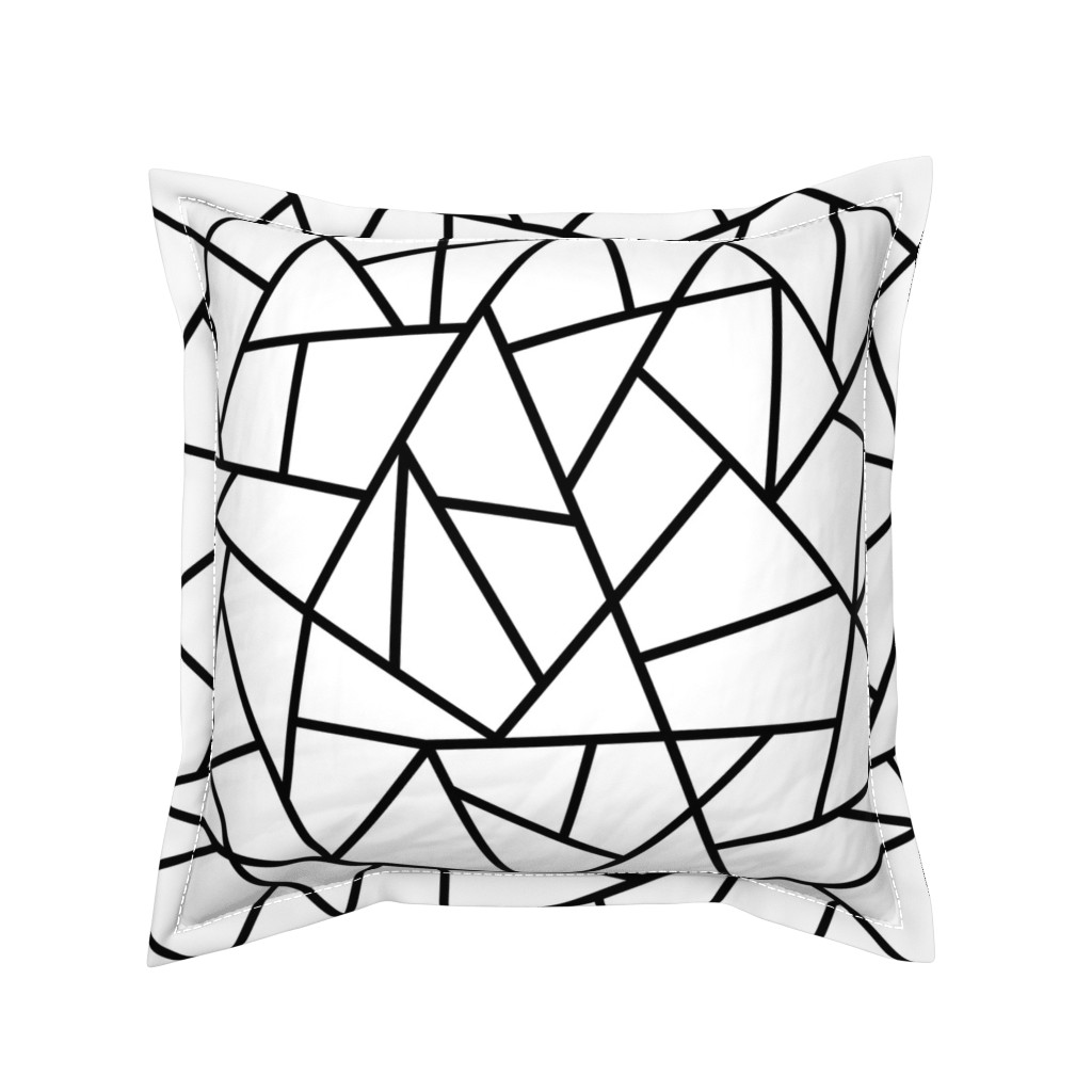 Serama Throw Pillow featuring Abstract Geometric Black on White Large by sierra_gallagher