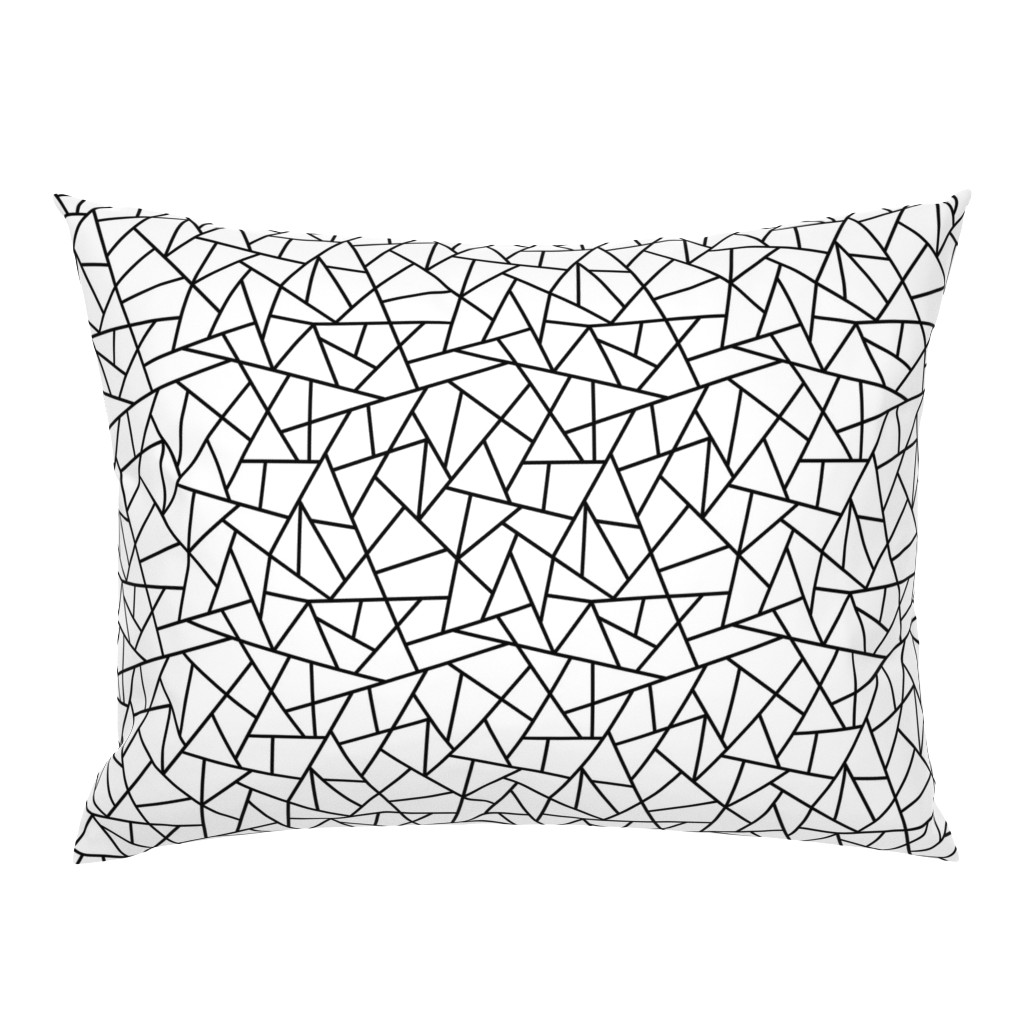 Campine Pillow Sham featuring Abstract Geometric Black on White Small by sierra_gallagher