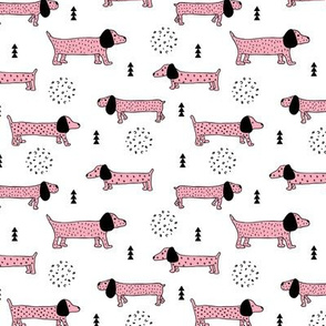 Adorable little dachshund teckel puppy cute kids dogs theme scandinavian style pastel pink for girls