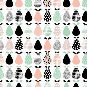 Cool pear garden geometric memphis scandinavian style fruit illustration gender neutral coral mint