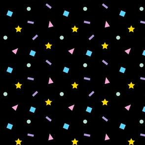 Confetti Shapes Color on Black