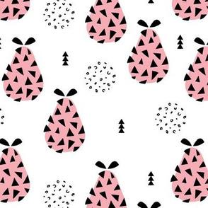 Cool pear garden geometric memphis scandinavian style fruit illustration girls pastel pink