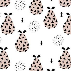 Cool pear garden geometric memphis scandinavian style fruit illustration gender neutral beige