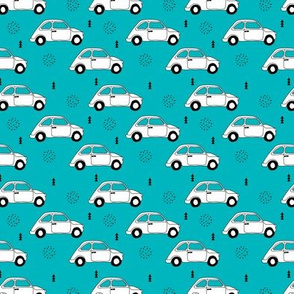 Old vintage oldtimer classic italian car scandinavian kids design black and white blue boys fabric XS