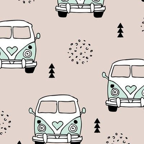 Cool vintage happy camper hippie bus geometric scandinavian illustration design for kids mint LARGE
